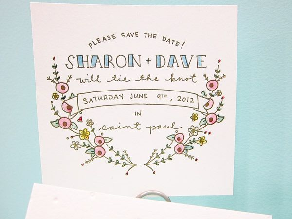 Hand drawn invitations by Printerette Press at the national stationary show 2012