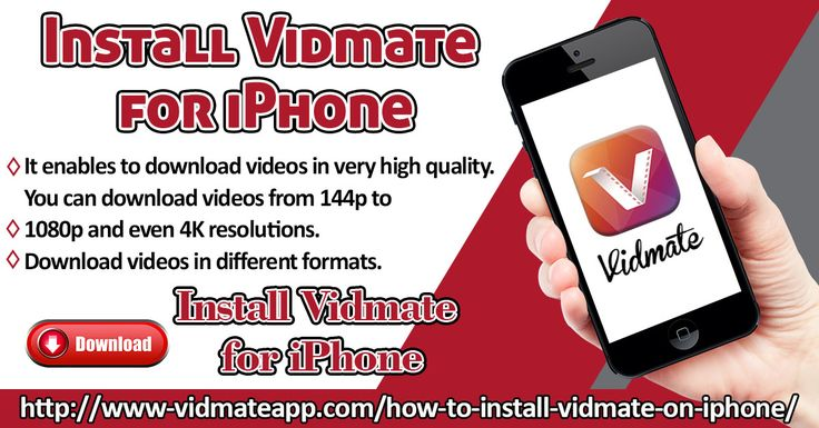 Vidmate app on iPhone is an amazing video downloading tool. The app enable you to stream, watch and download from thousands of online video websites like YouTube, Facebook, Vimeo, Yodesi, Instagram, Dailymotion, Vine, etc. The interface of the app is very user-friendly.   Website: http://www-vidmateapp.com/how-to-install-vidmate-on-iphone/