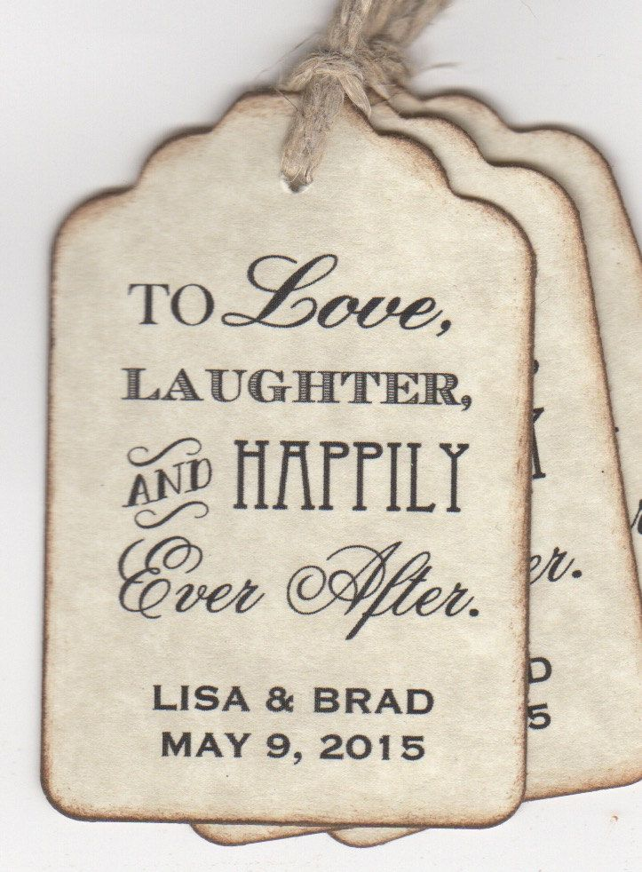 100 Wedding Favor Tags, Shower Favor Tags, Place Card Escort Tags, To Love…