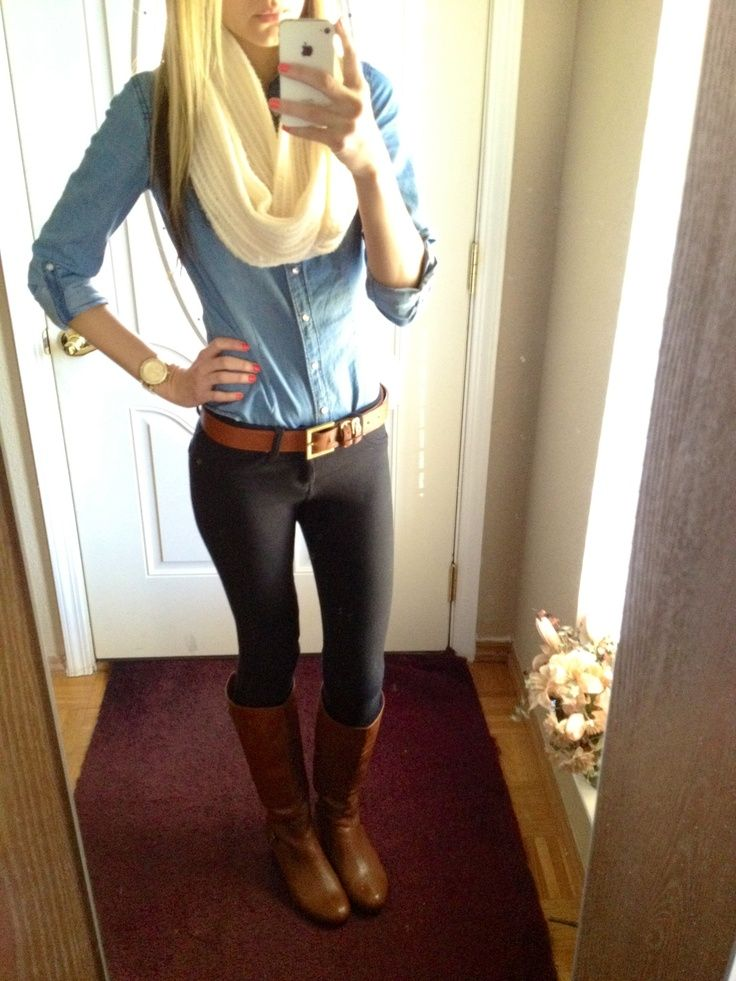chambray + black skinnies + beige infinity scarf + cognac boots + matching belt