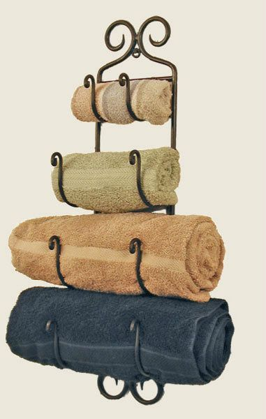 Simply Gracious Style - 4 Tier Rustic Black Wrought Iron Wall Mounted Towel Rack, $48.00 (http://simplygraciousstyle.com/products/4-tier-rustic-black-wrought-iron-wall-mounted-towel-rack.html)
