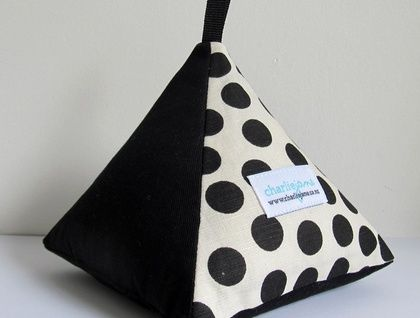 Pyramid Doorstop - Black Dots