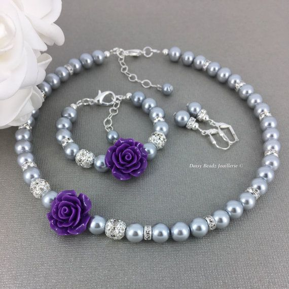 Purple Flower and Pearl Necklace Set, Flower Girl Jewelry, Flower Girls Gift, Purple Flower Necklace Bracelet, Purple and Grey Wedding