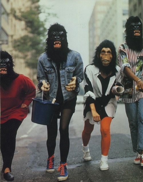 Guerrilla Girls started in New York City (1985) to protest gender and racial inequality in the art world.
