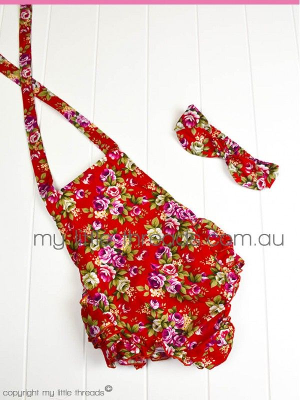 Red Floral Rufflebum Playsuit with matching headband