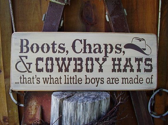 Boots Chaps and Cowboy Hats distressed wooden by RusticNorthern, $40.00