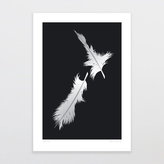 Feathers | Glenn Jones Art New Zealand. One of the many unique prints that can be found in our Supper Club 2015 gift bags