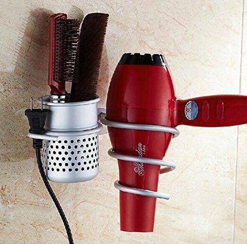 Bathroom Organization: Wall Mounted Aluminum Hair Dryer Holder Shelf Rack Stand…