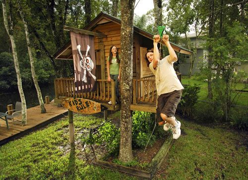 Lucky Kids Get A Treehouse And A Zipline?