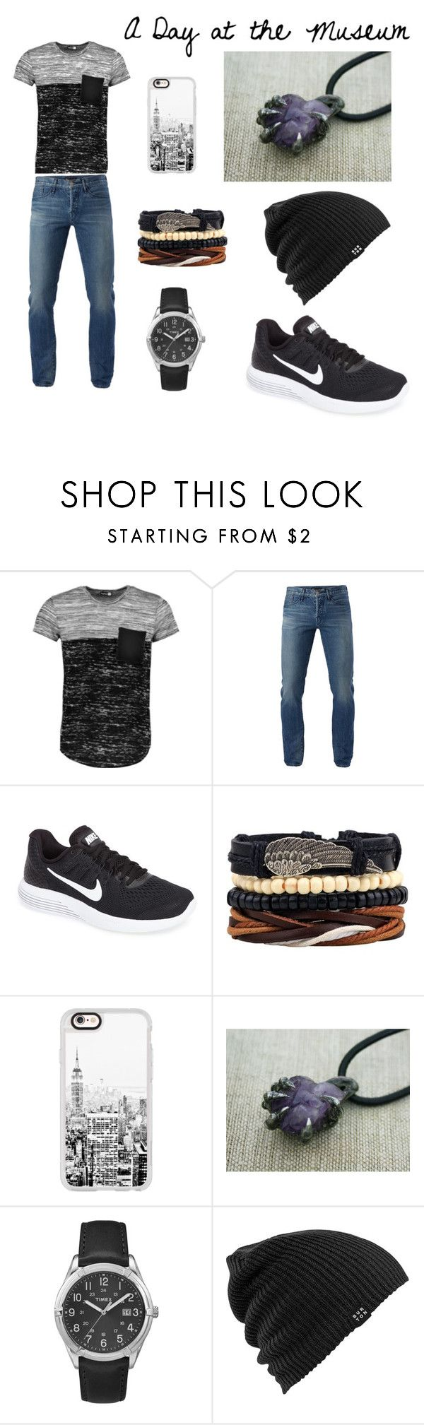 """""""A Day at the Museum"""" by maria-johnson-4 ❤ liked on Polyvore featuring Boohoo, 3x1, NIKE, Casetify, Timex, Burton, men's fashion and menswear"""
