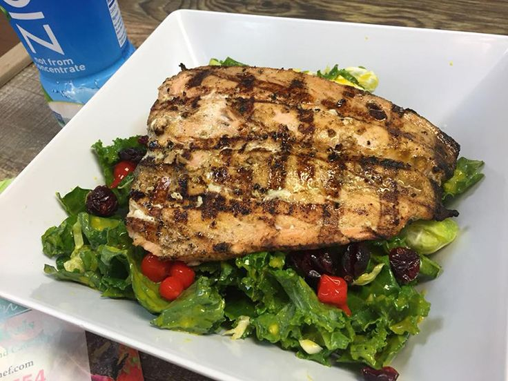 Faroe Island Salmon on salad of your choice! Order from us on line and live healthy! We feature 24 hour free delivery anywhere in the USA. http://www.floridaseafood.com/scottish-salmon-starting-with-3-5-lbs/