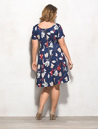 Plus size floral scuba fit and flare dress mothers of the bride