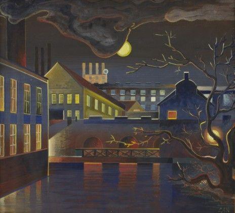 Fabriksbyggnader (Bruket - Holmen), Norrköping. Monogramsignerad GAN. Gouache, 50 x 54