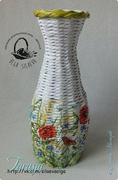 Декор предметов Поделка изделие 8 марта Декупаж Плетение Летнее настроение Бумага Бумага газетная Клей Краска Салфетки Трубочки бумажные фото 2: