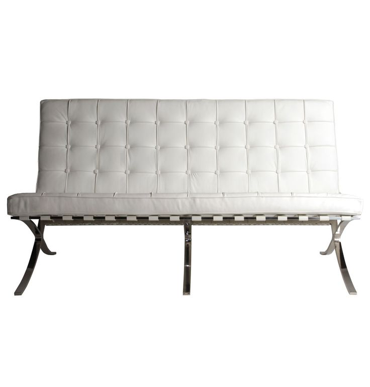 Replica Mies Van der Rohe Barcelona Leather Sofa - Standard by Mies Van Der Rohe - Matt Blatt
