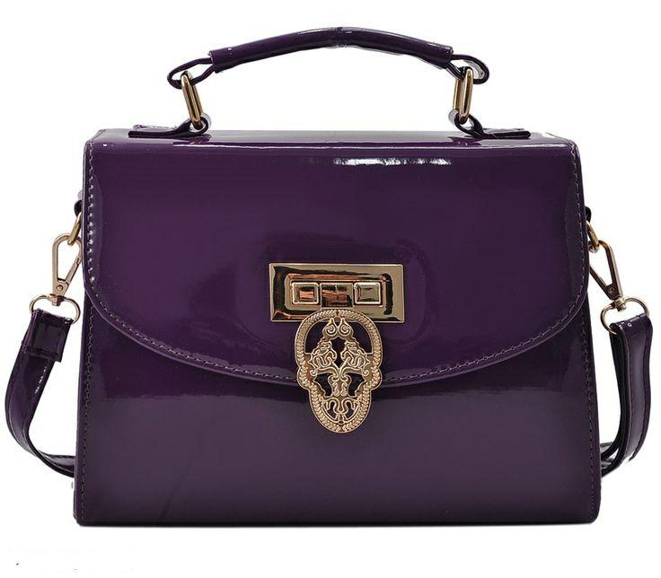 Purple - Patent Leather Bag With Skull Twist Lock £22