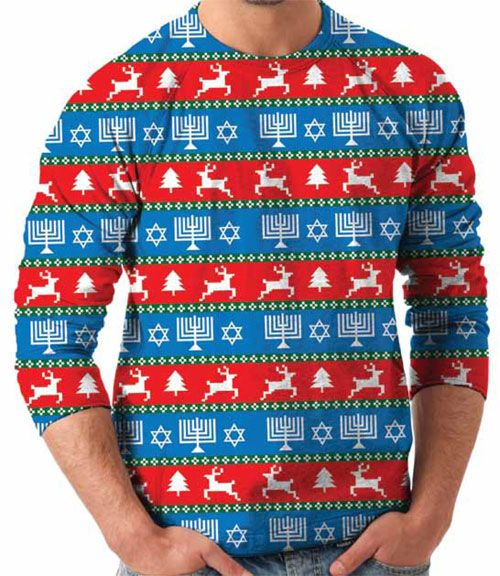 Wow! Is that nasty!  Awesome Ugly Christmas / Hanukkah Sweater hybrid sweater.  That's ugly!  #uglychristmassweater