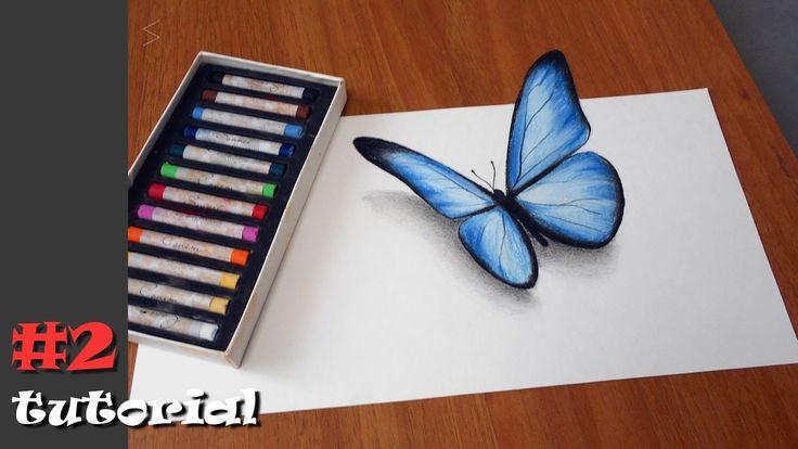 Как нарисовать бабочку в 3d. Иллюзия объема БЕЗ КАМЕРЫ и под любыми угла...