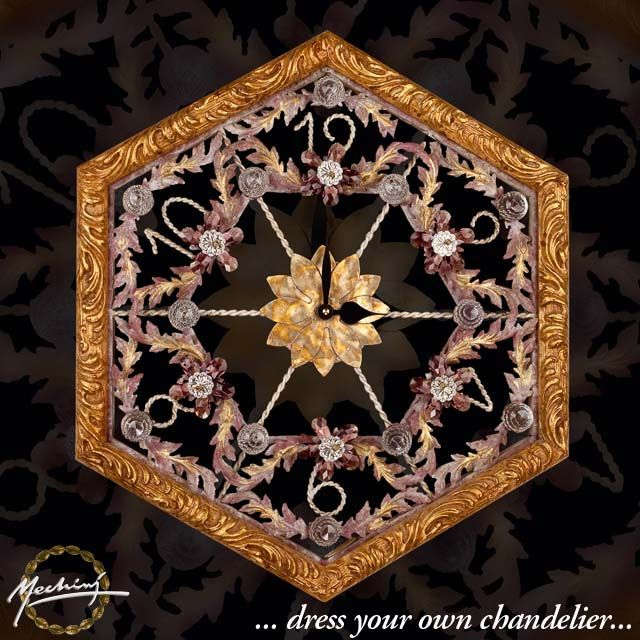 Clock In Wrought Iron With Wood Frame With Coloured Bohemian Crystal And  Clear #Swarovski Strass.