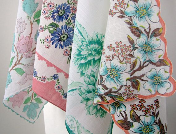 Vintage Floral Scalloped Edge Pink and Aqua/Green by PickingCotton, $8.00