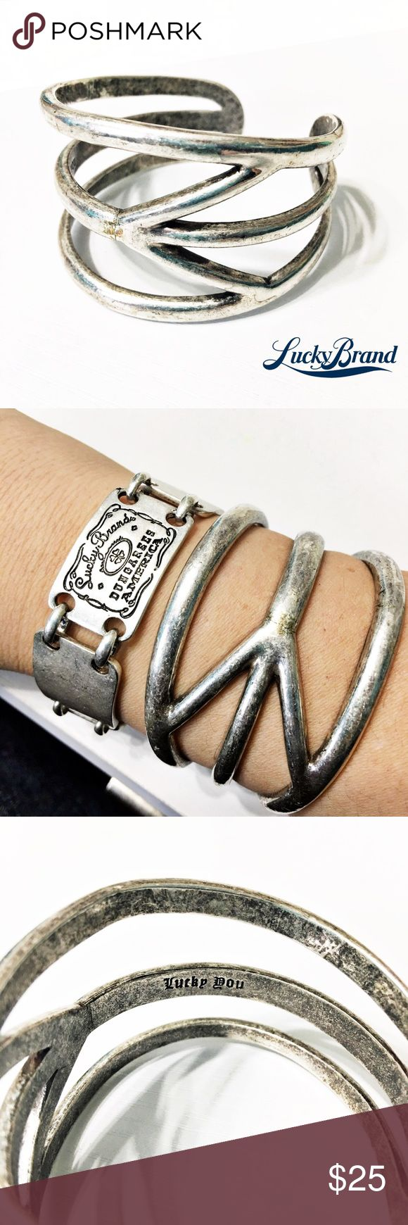 Lucky Brand Silver Boho Peace Cuff Bracelet This cuff bracelet is so stylish! From Lucky Brand and in like-new condition. Questions? Please ask! Sorry, no trades. Bundle for a discount! Lucky Brand Jewelry Bracelets