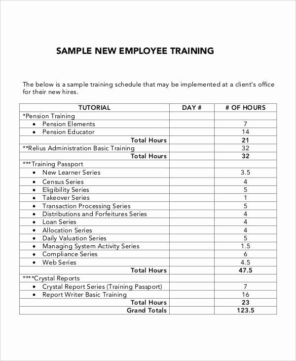 30 New Hire Training Plan Template In 2020 Simple Business