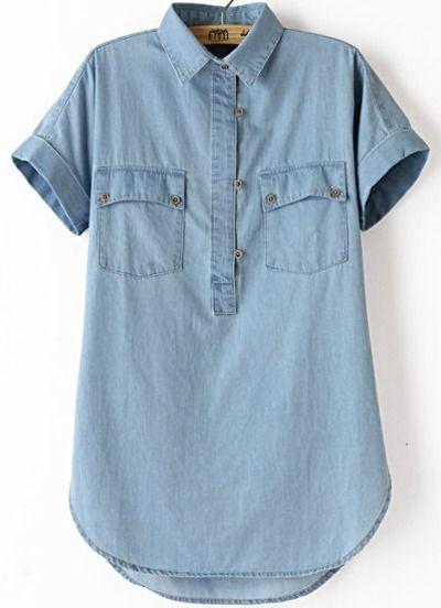 Blue Lapel Short Sleeve Denim Blouse
