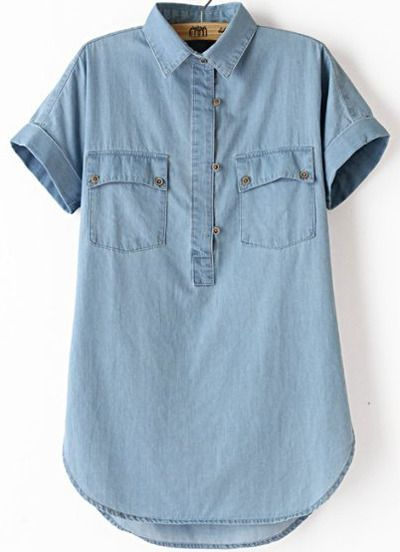 Blue Lapel Short Sleeve Denim Blouse
