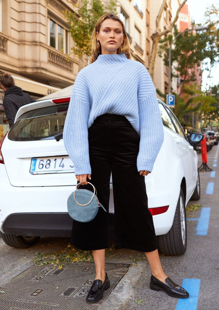 & Other Stories | Inspiration | Criss Cross Sweater | Ruffle Tuxedo Stripe Culottes | Small Leather Circle Bag | Round Toe Loafer