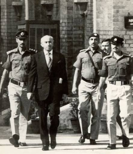 Zulfikar Ali Bhutto (Former Prime Minister of Pakistan - ) during his trial outside High Court - #Lahore c. 1978-79.