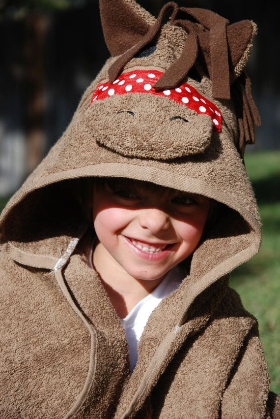 boys horse hooded towel  horse hood towel  pony by melissasstitches