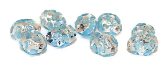 Silver Blue Grace Lampwork Beads Pair Czech by CzechBeadsExclusive