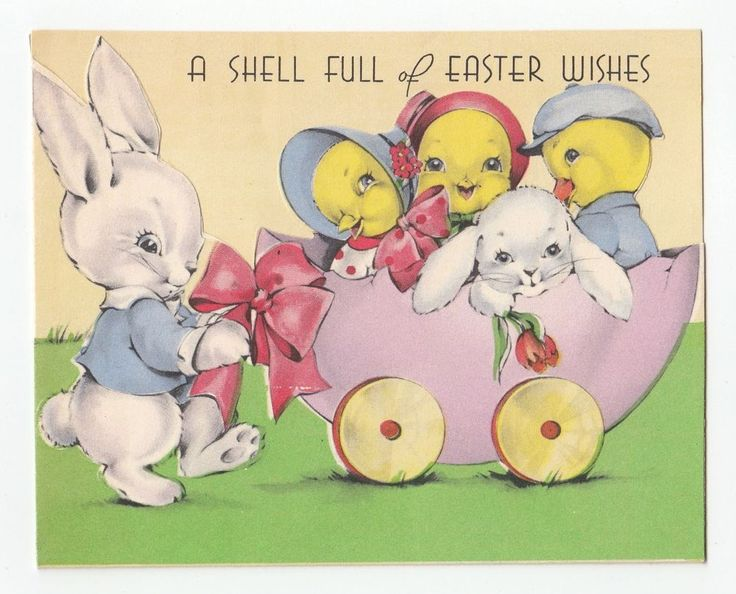 Vintage Greeting Card Easter Bunny Rabbit Cart Full of Chicks 1940s