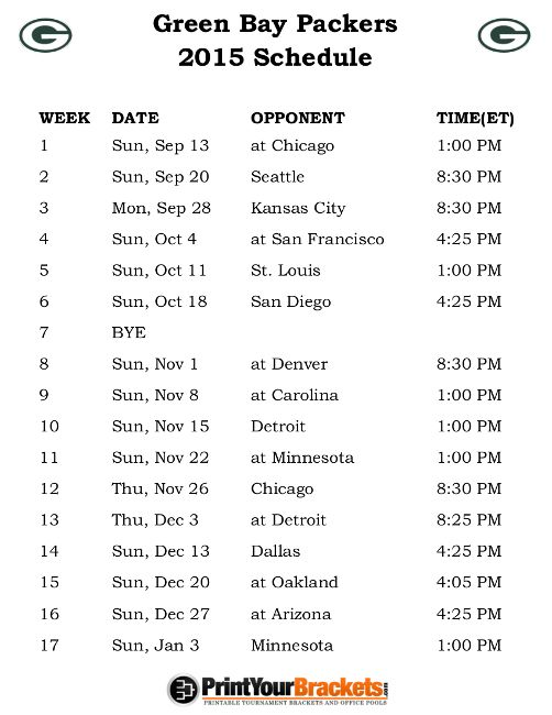 Printable Green Bay Packers Schedule - 2015 Football Season