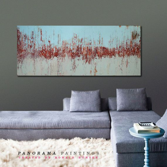 Name: Landscape Red and Blue Fields  This large painting is created with stucture and acrylic paint. Gives a natural friendly look, with many