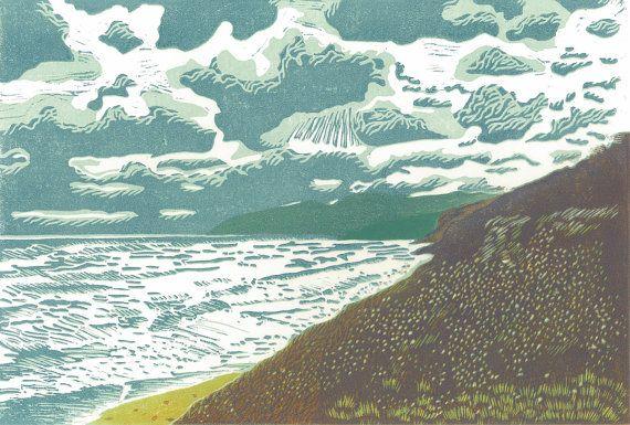 LINOCUT Linoblock Print - Winter at West Mabou Beach - Wall Art Decor