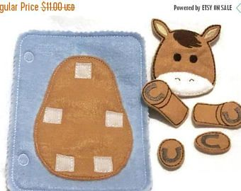 SALE Horse build a book activity book add on page felt quiet book page #QB10