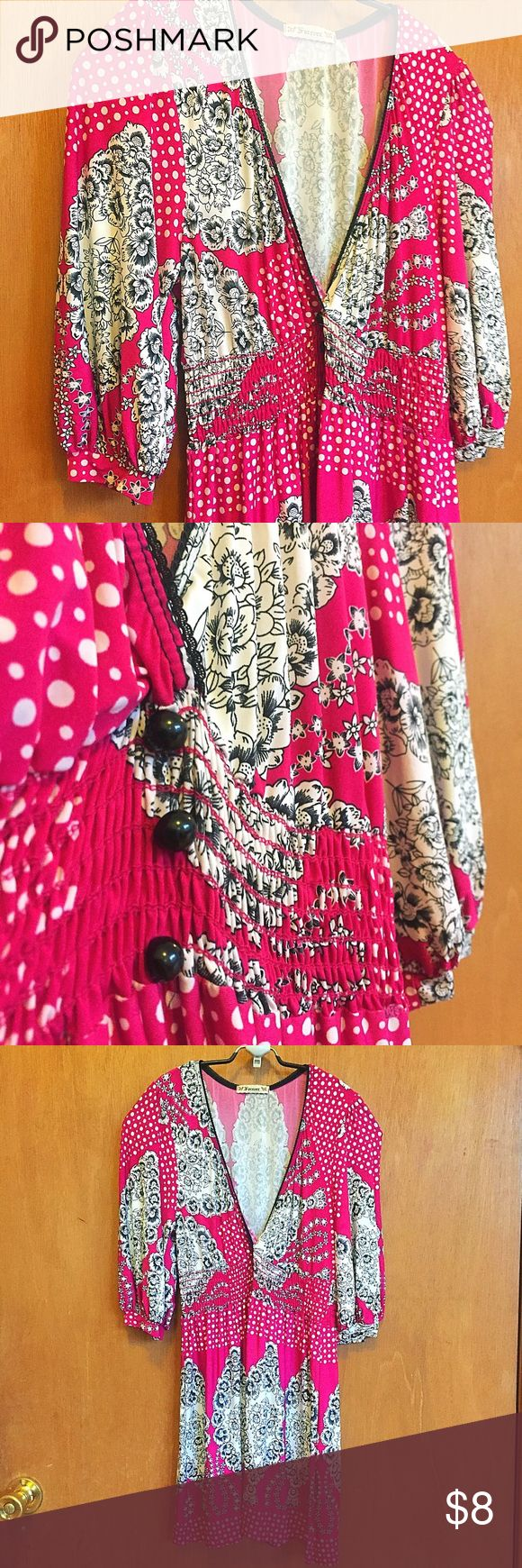 Hot pink biz casual blouse with B&W baroque print Liven up your wardrobe with this bright blouse. Super comfortable and fresh, easy to care for and stylish. Pair it with slacks for a splash of color during your workday or with a short skirt or shorts during the weekend. Enhances curves without being too revealing. Can be worn as a mini dress if you're shorter that 5'3. Forever 21 Tops Blouses