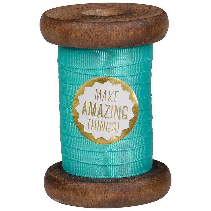 Turquoise Ribbon on wooden spool
