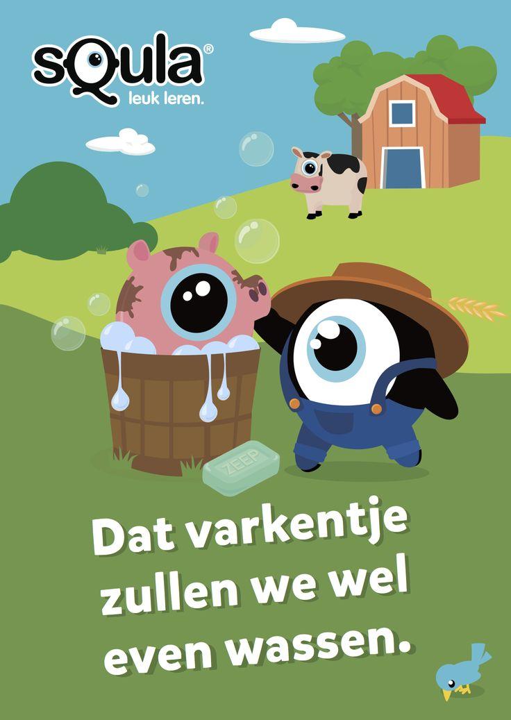 Educatieve poster met Nederlandse spreekwoorden en gezegden: Dat varkentje zullen we wel even wassen.