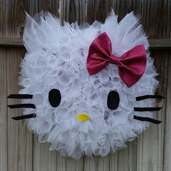 Hello Kitty Wreath Happy Birthday Hello by SouthernHeartWreaths