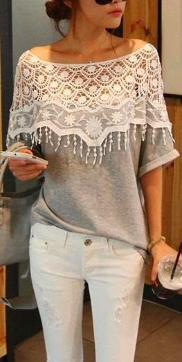 Amei! Que ideia! Comfy Grey Neck Lace Top