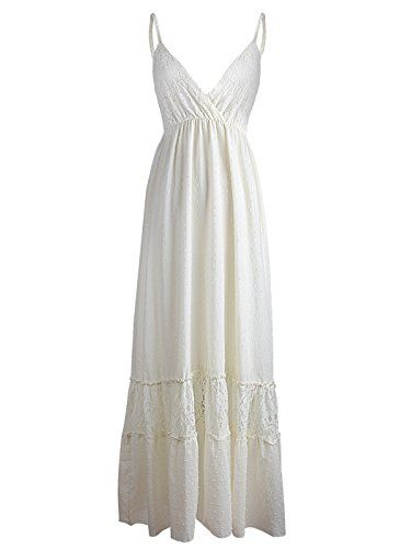 Anna-Kaci Womens Adjustable Strap Boho Lace White Sleevel...