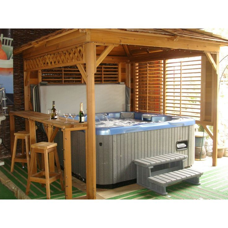 31 best hot tub privacy spa enclosures images on pinterest for Diy hot tub gazebo