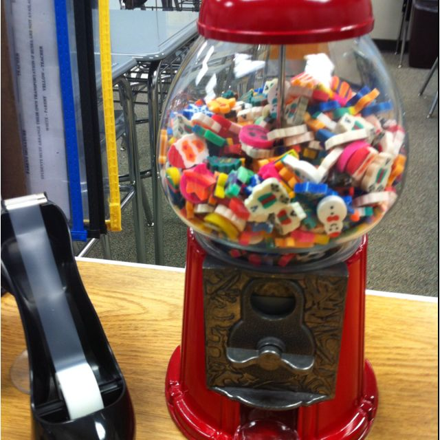 My 8th grade students love the eraser gum ball machine. It also adds to the decor of the classroom.