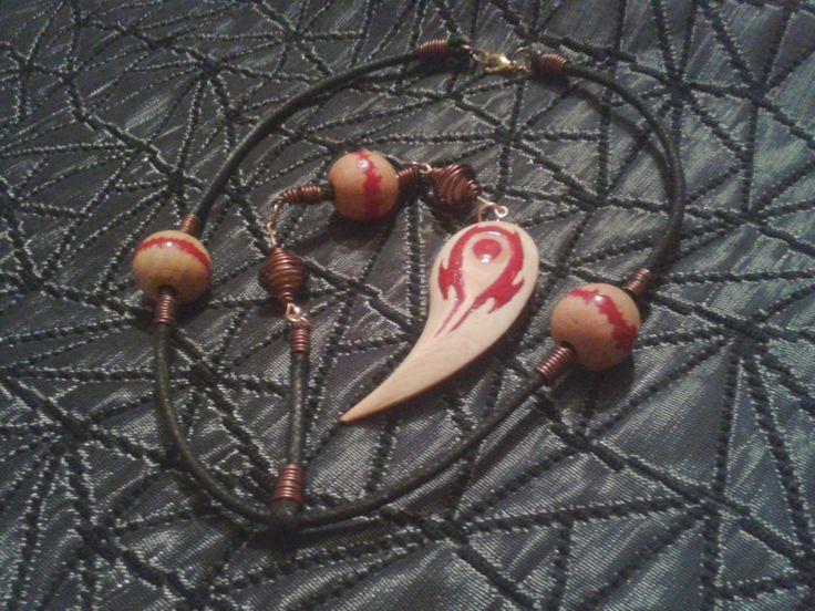World of Warcraft Dota Vol'jin symbol Horde wooden necklace pendant African boho style by TransmogShop on Etsy