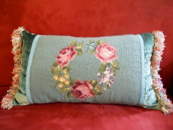 Designer Pillow 11 x 20 Decorative Vintage Needlepoint Garland of Roses on Etsy, $155.00