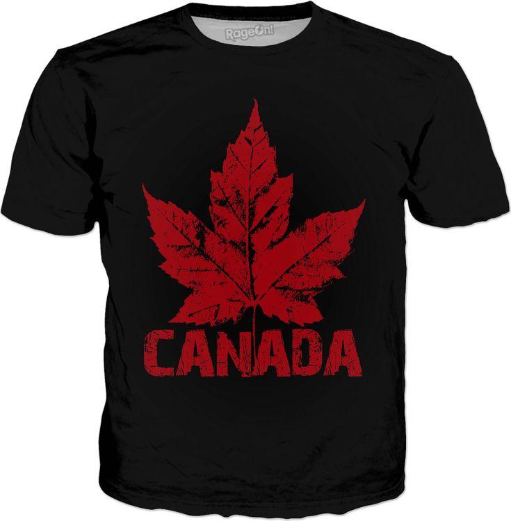 Cool Canada Souvenir T-shirt Cool Black Canada T-shirt Retro Maple Leaf Canada Shirts for Men Women & Kids Canada by Artist Designer Kim Hunter. Super Cool!