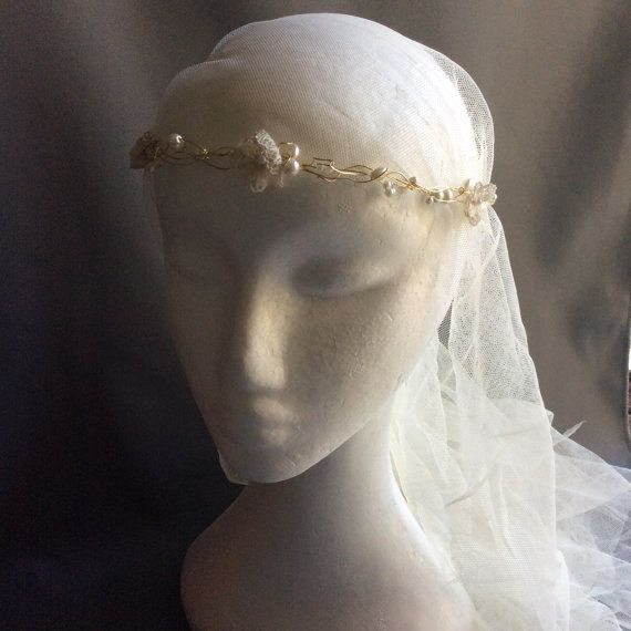 Boho gold circlet with pearl beads and lace flowers ivory