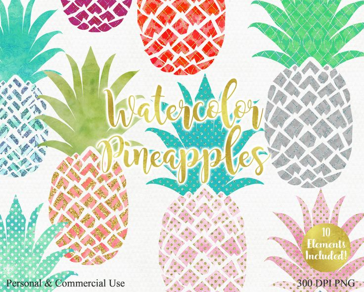 WATERCOLOR PINEAPPLE Clipart Commercial Use Clip art Fun Tropical Clipart with…